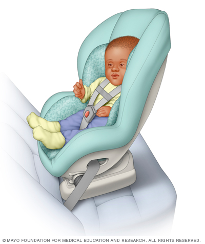 Convertible car seats can be used rear- or forward-facing and typically have higher rear-facing height and weight limits than do infant-only car seats. (Credit: Mayo Foundation for Medical Education and Research.)
