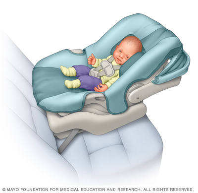Infant-only car seats usually have a handle for carrying and can be snapped in and out of a base that's installed in a vehicle. (Credit: Mayo Foundation for Medical Education and Research.)